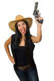 Η νέα γυναίκα με το πυροβόλο όπλο που απομονώνεται στο λευκό Στοκ εικόνες με δικαίωμα ελεύθερης χρήσης
