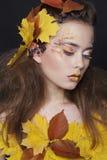 Η νέα γυναίκα με το φθινόπωρο αποτελεί και φύλλα στο κεφάλι στοκ φωτογραφία με δικαίωμα ελεύθερης χρήσης