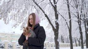Η νέα γυναίκα περπατά αργά να κρατήσει το μικρό σκυλί υπαίθρια στο χειμερινό πάρκο κοντά επάνω Έφηβος και ένα κατοικίδιο ζώο σε έ φιλμ μικρού μήκους
