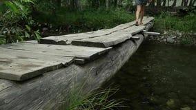 Η νέα γυναίκα περπατά κατά μήκος μιας στενής ξύλινης γέφυρας πέρα από έναν ποταμό βουνών έννοια στρατοπέδευσης και περιπέτειας φιλμ μικρού μήκους