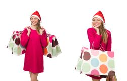 Η νέα γυναίκα στην έννοια αγορών Χριστουγέννων στοκ εικόνες