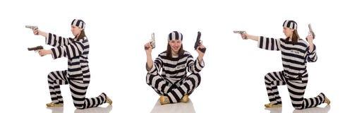Η νέα γυναίκα στη φυλακή που απομονώνεται στο λευκό στοκ εικόνα