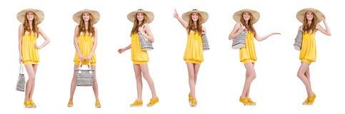 Η νέα γυναίκα στο κίτρινο θερινό φόρεμα που απομονώνεται στο λευκό Στοκ φωτογραφίες με δικαίωμα ελεύθερης χρήσης