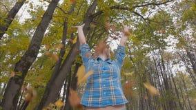 Η νέα γυναίκα στο πάρκο φθινοπώρου ρίχνει επάνω σε μια αγγαλιά των φύλλων σφενδάμου φιλμ μικρού μήκους