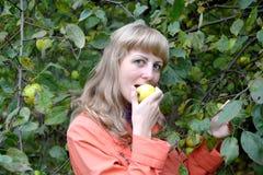 Η νέα γυναίκα τρώει το ώριμο μήλο για ένα Apple-δέντρο Στοκ Εικόνα