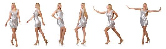 Η νέα γυναίκα φόρεμα που απομονώνεται στο ασημένιο στο λευκό Στοκ εικόνες με δικαίωμα ελεύθερης χρήσης
