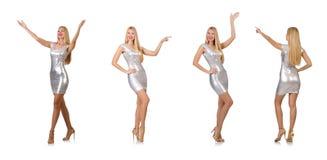 Η νέα γυναίκα φόρεμα που απομονώνεται στο ασημένιο στο λευκό Στοκ εικόνα με δικαίωμα ελεύθερης χρήσης