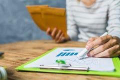 Η νέα λειτουργώντας σκληρή δουλειά γυναικών στεγάζει στο σπίτι το φορολογικό υπολογισμό Στοκ φωτογραφία με δικαίωμα ελεύθερης χρήσης