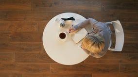 Η νέα ελκυστική επιχειρησιακή γυναίκα κάνει τις σημειώσεις σε μια συνεδρίαση σημειωματάριων στον καφέ Στοκ εικόνες με δικαίωμα ελεύθερης χρήσης