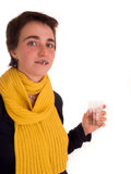 Η νέα ενήλικη γυναίκα με την κοντή τρίχα, κίτρινο μαντίλι, τζιν παντελόνι στο άσπρο υπόβαθρο σε διαφορετικό θέτει, και διάφορο το Στοκ Εικόνες