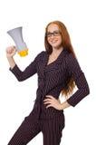 Η νέα επιχειρηματίας με το μεγάφωνο στο λευκό Στοκ Εικόνες