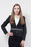 Η νέα επιχειρησιακή γυναίκα χαμογελά Στοκ Εικόνα