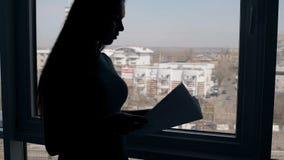 Η νέα επιχειρησιακή κυρία εργάζεται με τα έγγραφα που στέκονται στο υπόβαθρο παραθύρων στην αρχή φιλμ μικρού μήκους