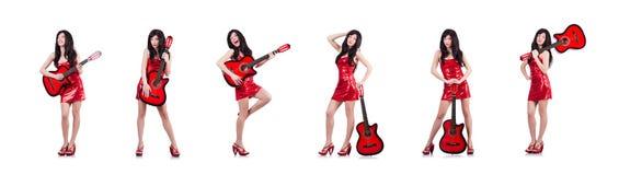 Η νέα κιθάρα τραγουδιστών στο λευκό στοκ εικόνα με δικαίωμα ελεύθερης χρήσης
