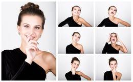 Η νέα κυρία φωτογραφιών μόδας κινηματογραφήσεων σε πρώτο πλάνο στο κομψό μαύρο φόρεμα, εύθυμη γυναίκα εκφράζει τις διαφορετικές σ Στοκ Φωτογραφίες