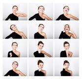 Η νέα κυρία φωτογραφιών μόδας κινηματογραφήσεων σε πρώτο πλάνο στο κομψό μαύρο φόρεμα, εύθυμη γυναίκα εκφράζει τις διαφορετικές σ Στοκ Εικόνες