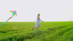 Η νέα μητέρα οικογενειακού Σαββατοκύριακου με την κόρη παιδιών απολαμβάνει με τον πετώντας ικτίνο έχει τη διασκέδαση στη φύση Ένν φιλμ μικρού μήκους