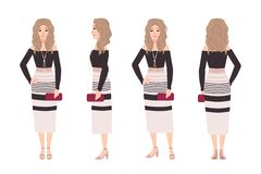 Η νέα ξανθή γυναίκα έντυσε στα μοντέρνα ενδύματα Όμορφο κορίτσι που φορά το φόρεμα και που κρατά την τσάντα συμπλεκτών Μοντέρνη ε διανυσματική απεικόνιση