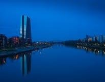 Η νέα οικοδόμηση της έδρας Ευρωπαϊκής Κεντρικής Τράπεζας, Φρανκφούρτη Στοκ Εικόνες