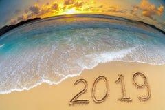 Η νέα παραλία έτους 2019 γιορτάζει στοκ φωτογραφία