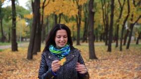 Η νέα ρίψη γυναικών φεύγει επάνω στο πάρκο φθινοπώρου Θηλυκό παιχνίδι, πτώση φύλλων Στενός επάνω FullHD φιλμ μικρού μήκους