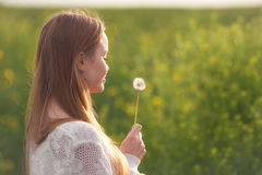 Η νέα φυσώντας πικραλίδα γυναικών μόδας άνοιξη καλλιεργεί την άνοιξη Άνοιξη Καθιερώνον τη μόδα κορίτσι στο υπόβαθρο τοπίων ηλιοβα Στοκ Φωτογραφίες