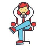 Η νέα χαλάρωση επιχειρηματιών, κύριος, επιτυχής διευθυντής κάθεται, CEO στην αρχή, έννοια επιχειρησιακών καρεκλών διανυσματική απεικόνιση