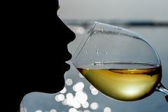 Η νέα όμορφη γυναίκα κινηματογραφήσεων σε πρώτο πλάνο πίνει το άσπρο κρασί στοκ φωτογραφία με δικαίωμα ελεύθερης χρήσης