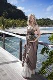 Η νέα όμορφη γυναίκα με αυξήθηκε σε μια ξύλινη πορεία στη θάλασσα, τροπικοί κύκλοι Στοκ φωτογραφία με δικαίωμα ελεύθερης χρήσης