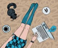 Η νέα όμορφη γυναίκα με τη γάτα κουβεντιάζει on-line Μακριά όμορφα πόδια στις γυναικείες κάλτσες και το κοντό φόρεμα Χρωματισμένο διανυσματική απεικόνιση