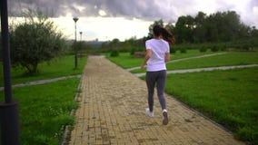 Η νέα όμορφη γυναίκα τρέχει στο πάρκο Λήφθείτε από την πλάτη Σε αργή κίνηση φιλμ μικρού μήκους