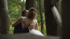 Η νέοι όμορφοι νύφη και ο νεόνυμφος ζευγών στη ημέρα γάμου τους κάθονται togather στο δάσος απόθεμα βίντεο