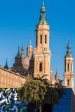 Η ναός-βασιλική της κυρίας στυλοβάτη μας - ένας Ρωμαίος - καθολική εκκλησία, Σαραγόσα, Ισπανία Διάστημα αντιγράφων για το κείμενο Στοκ Εικόνα