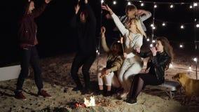 Η νεολαία έχει το υπόλοιπο στις λέξεις παραλιών και εικασίας νύχτας κοντά στη φωτιά με τα λουκάνικα σε ένα οβελίδιο απόθεμα βίντεο