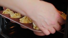 Η νοικοκυρά που τίθεται στο τυρί λουκάνικων φούρνων ψήνει, κλείνει επά φιλμ μικρού μήκους