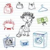 Η νοικοκυρά, doodle έθεσε Στοκ Εικόνα