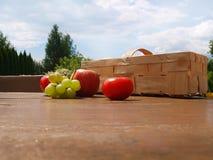 Η ντομάτα της Apple καλαθιών χρωματίζει τον κήπο σταφυλιών Στοκ Φωτογραφίες