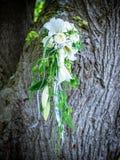 Η νυφική ανθοδέσμη με τα άσπρα τριαντάφυλλα και calla Στοκ εικόνα με δικαίωμα ελεύθερης χρήσης