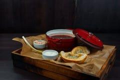 Η νόστιμη καυτή σούπα κόκκινων τεύτλων σε μια κόκκινη κατσαρόλλα με το σκόρδο, τα πράσινα κρεμμύδια, την ξινή κρέμα και το άσπρο  στοκ φωτογραφίες με δικαίωμα ελεύθερης χρήσης