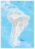 Η Νότια Αμερική απαρίθμησε το φυσικό χάρτη γκρι ακριβώς όπως άσπρο εσείς κανένα κείμενο Στοκ φωτογραφίες με δικαίωμα ελεύθερης χρήσης