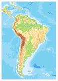 Η Νότια Αμερική απαρίθμησε το φυσικό χάρτη με τη σφαιρική ανακούφιση, λίμνες Στοκ φωτογραφία με δικαίωμα ελεύθερης χρήσης