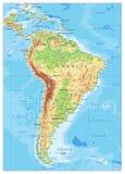 Η Νότια Αμερική απαρίθμησε το φυσικό χάρτη ελεύθερη απεικόνιση δικαιώματος