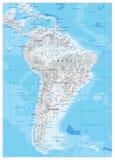 Η Νότια Αμερική απαρίθμησε το φυσικό χάρτη Στοκ φωτογραφίες με δικαίωμα ελεύθερης χρήσης
