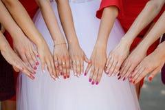 Η νύφη και οι παράνυμφοι παρουσιάζουν χέρια Στοκ φωτογραφίες με δικαίωμα ελεύθερης χρήσης