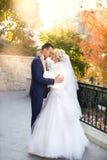 Η νύφη και ο νεόνυμφος αγκαλιάζουν σε έναν περίπατο στην επαρχία για έναν περίπατο Στοκ Εικόνα