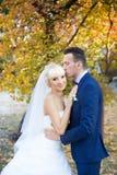 Η νύφη και ο νεόνυμφος αγκαλιάζουν σε έναν περίπατο στην επαρχία για έναν περίπατο Στοκ Φωτογραφίες