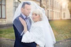 Η νύφη και ο νεόνυμφος αγκαλιάζουν σε έναν περίπατο στην επαρχία για έναν περίπατο Στοκ εικόνες με δικαίωμα ελεύθερης χρήσης
