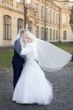 Η νύφη και ο νεόνυμφος αγκαλιάζουν σε έναν περίπατο στην επαρχία για έναν περίπατο Στοκ εικόνα με δικαίωμα ελεύθερης χρήσης