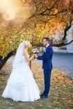 Η νύφη και ο νεόνυμφος αγκαλιάζουν σε έναν περίπατο στην επαρχία για έναν περίπατο Στοκ Εικόνες