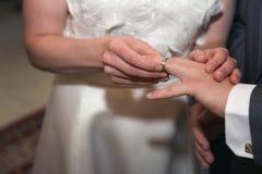Η νύφη και ο νεόνυμφος βάζουν στα γαμήλια δαχτυλίδια - γαμήλια τελετή Στοκ φωτογραφία με δικαίωμα ελεύθερης χρήσης